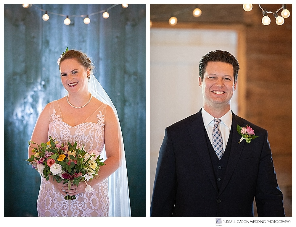 bride and groom during first look in the 1774 Inn barn