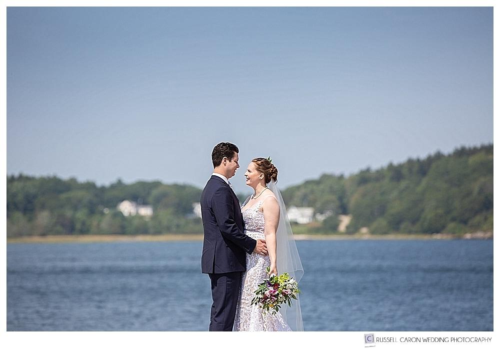 bride and groom standing together at Fort Popham, Phippsburg, Maine