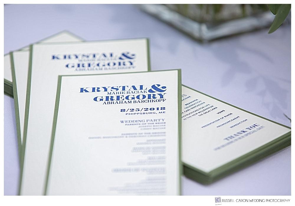 wedding programs on a table