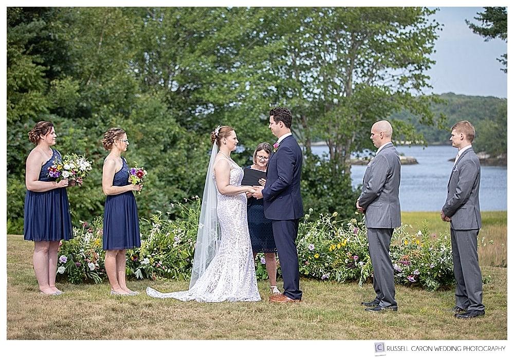 outdoor wedding ceremony at the 1774 Inn in Maine