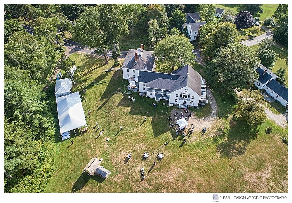 maine drone wedding photography of a 1774 Inn wedding ceremony and reception