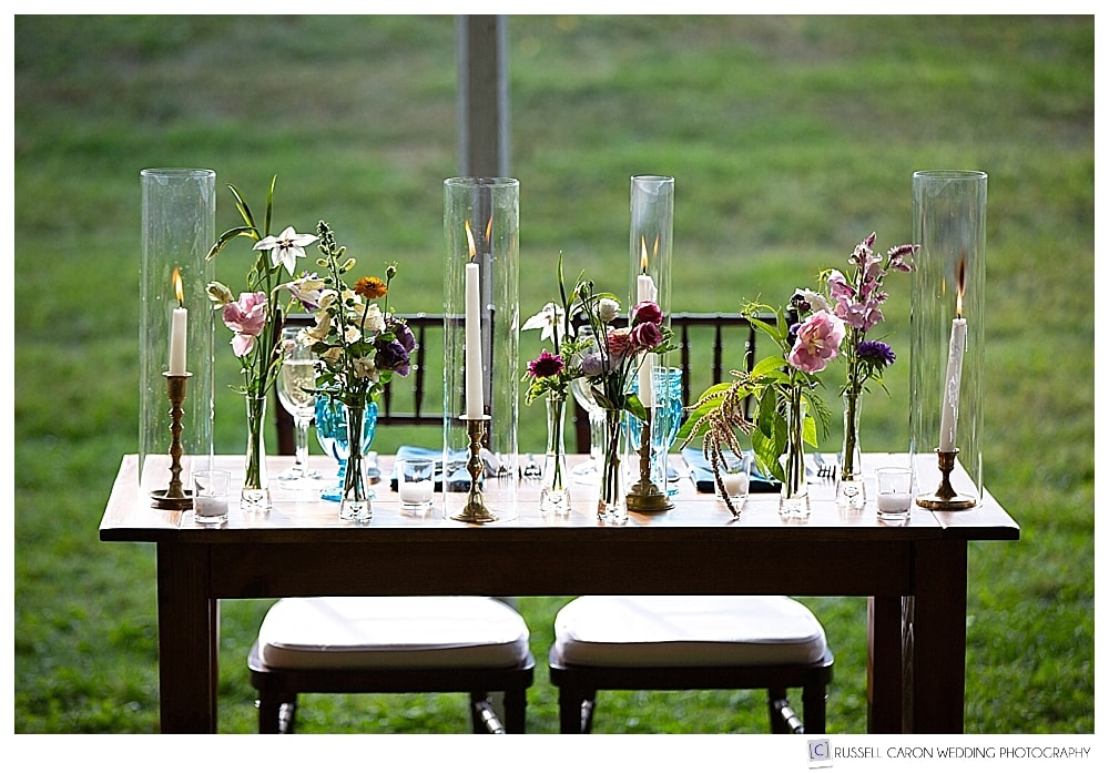 sweetheart table at tented wedding reception
