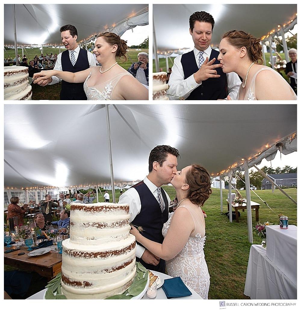 bride and groom during wedding cake cutting at their 1774 Inn wedding reception