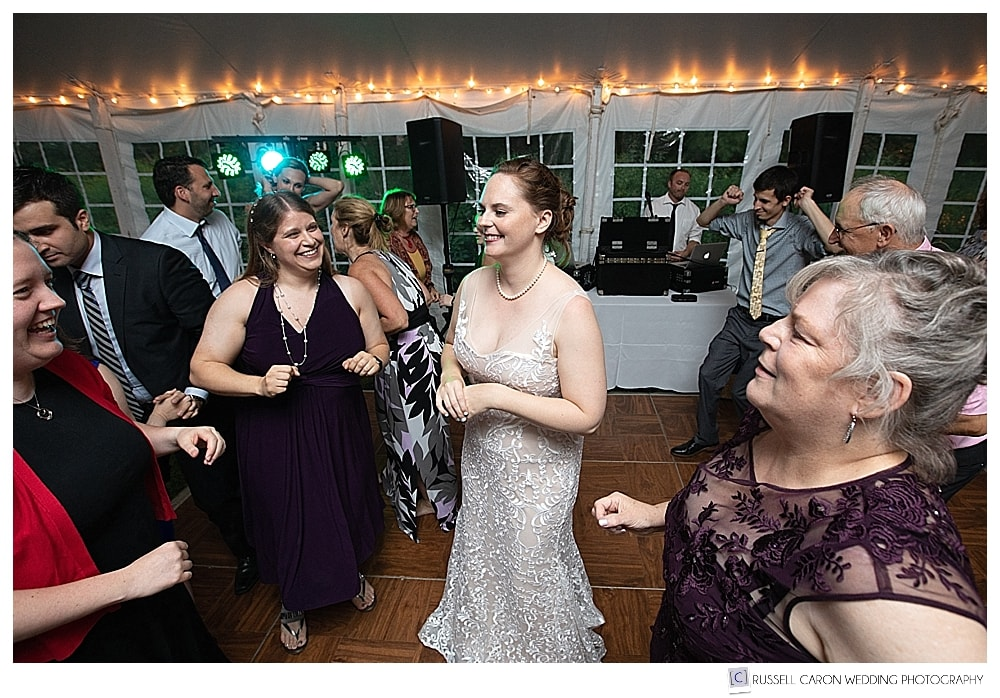 bride talking with guests