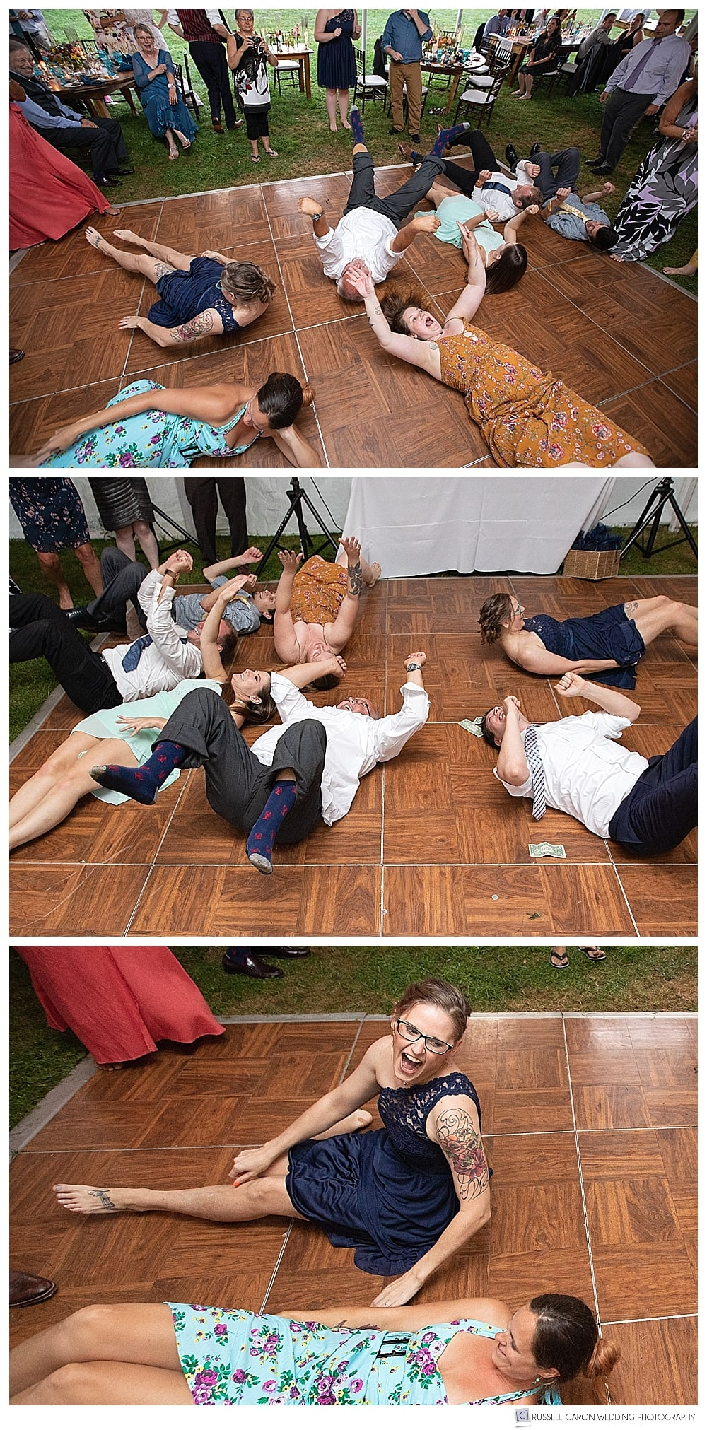 people lying on the dance floor