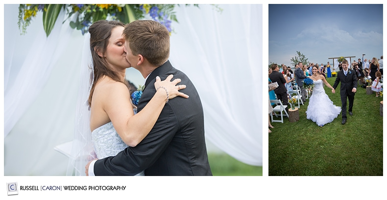 Maine wedding photographer captures first kiss photo