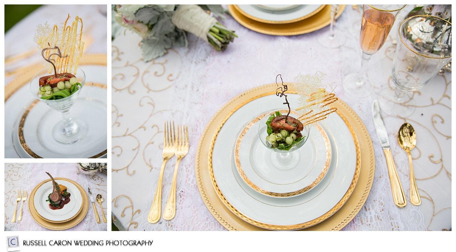 Food photos at a Norumbega Inn wedding, Camden Maine weddings