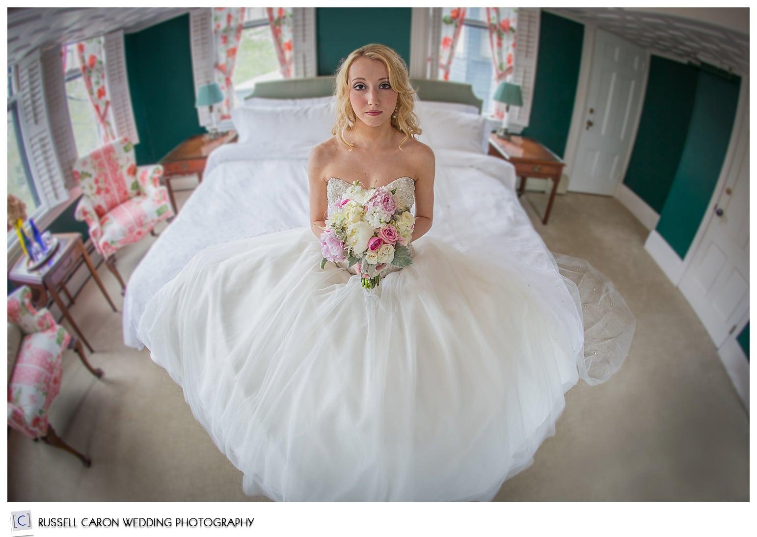 Bridal prep at the Norumbega Inn, Camden Maine