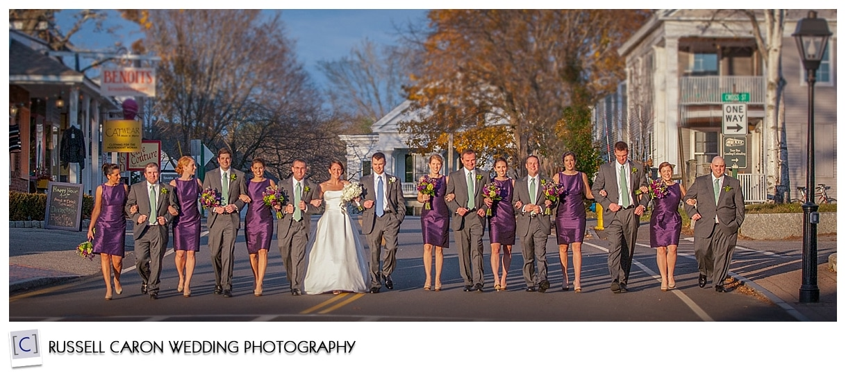 Bridal party photos in Dock Square, Kennebunkport Maine