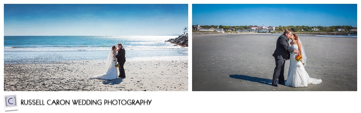 Bride and Groom on Colony Beach, Kennebunkport Maine