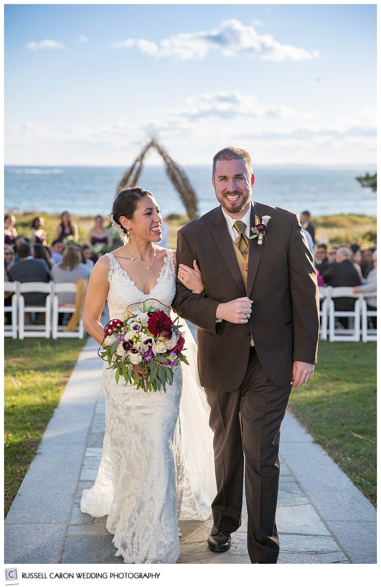 Colony Hotel weddings, bride and groom during wedding recessional