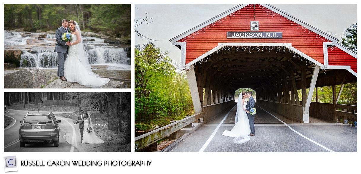 Bride and groom at covered bridge, Jackson, NH