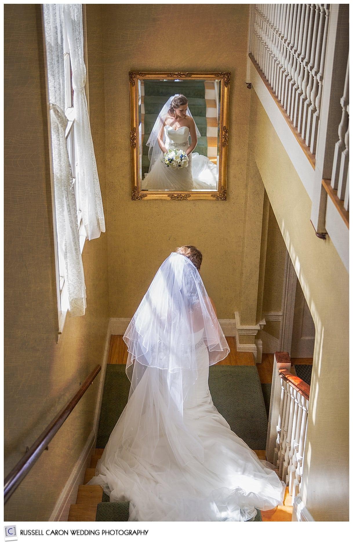 Bride descending stairs