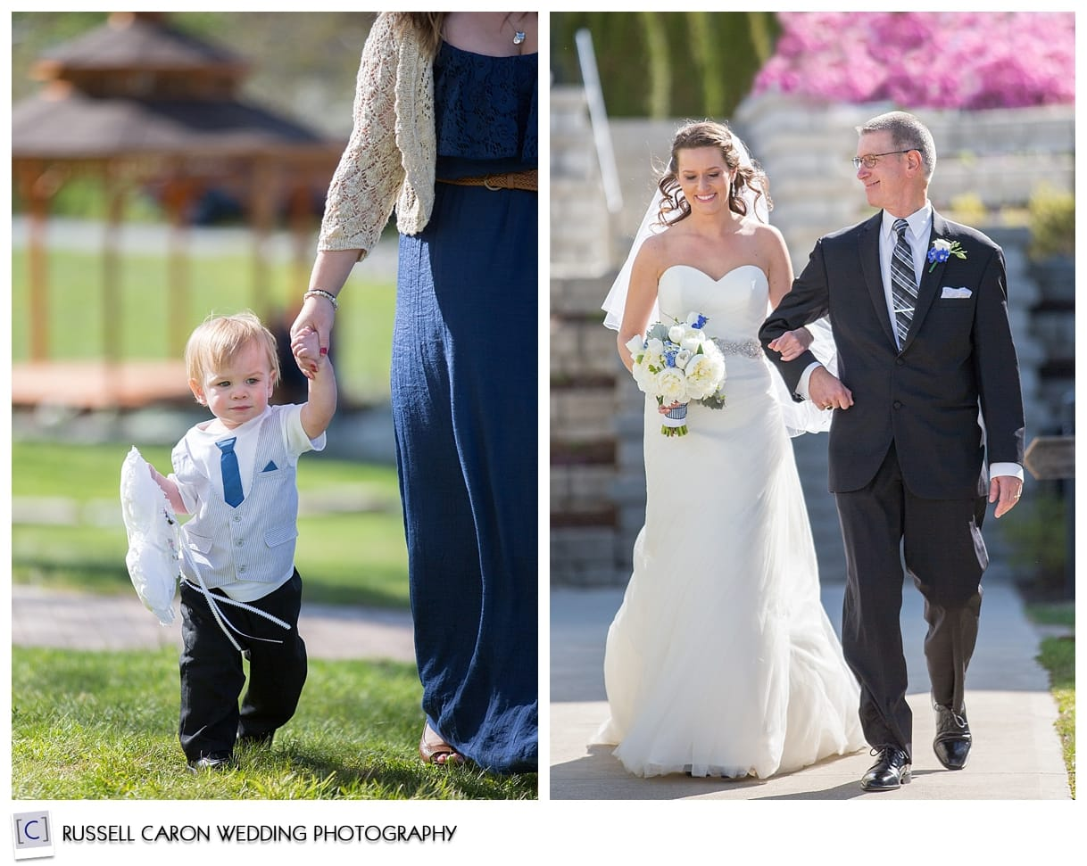 Bride coming down the aisle, ring bearer