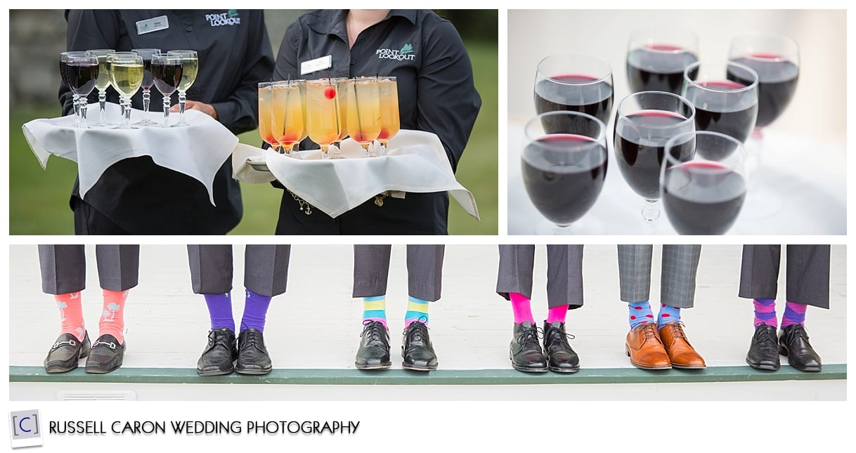 Groomsmen's socks, cocktails