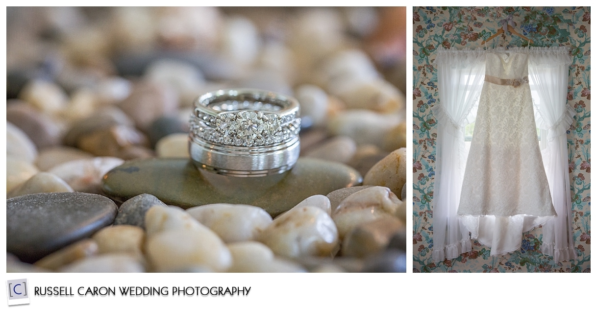 Bridal details, rings, and wedding gown, during Colony Hotel wedding