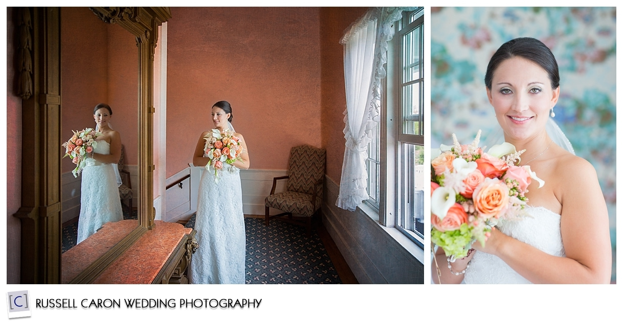 Bridal portraits at a Colony Hotel wedding, Kennebunkport Maine