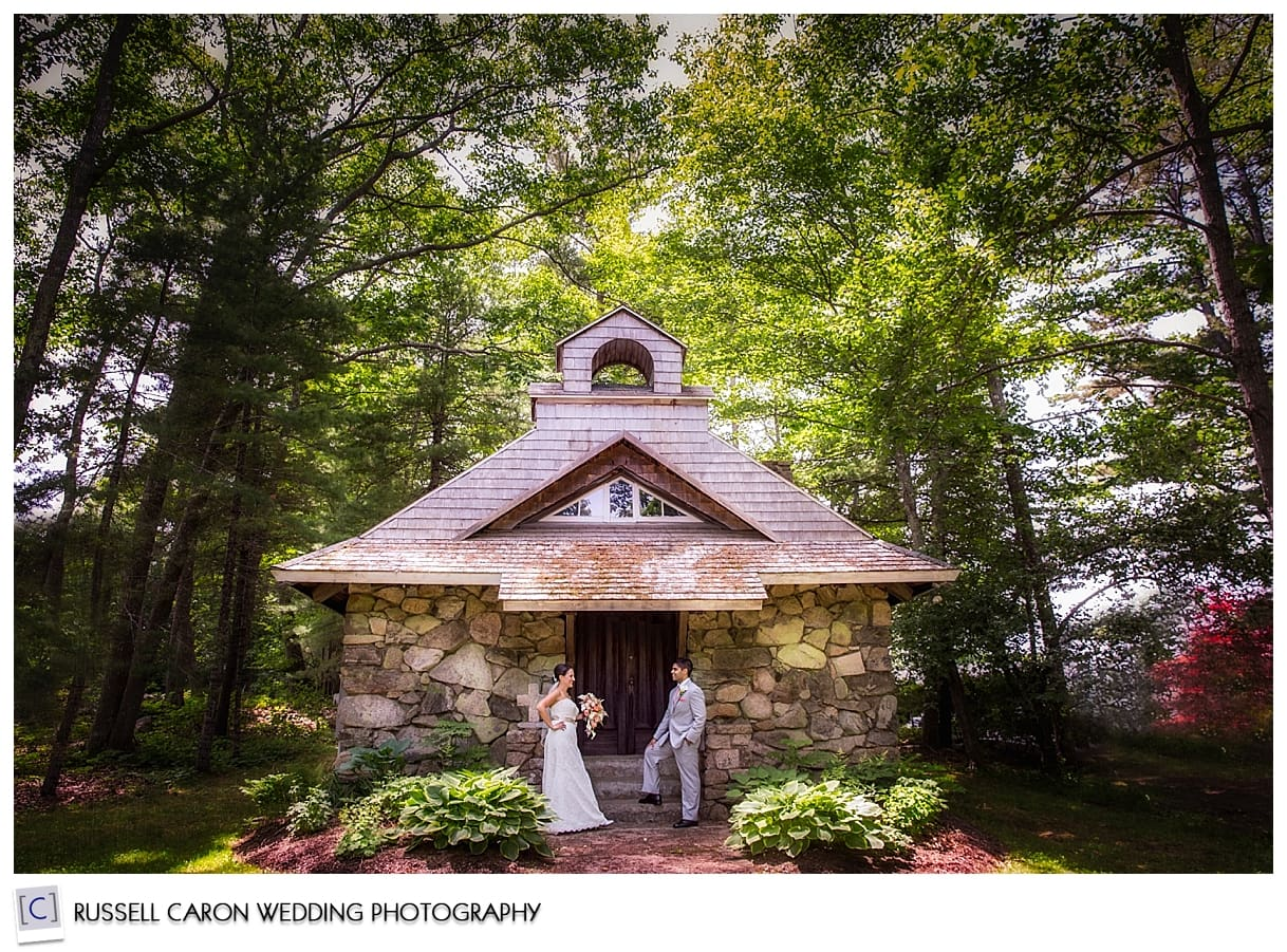 Bride and groom at a chapel in Kennebunkport, Maine