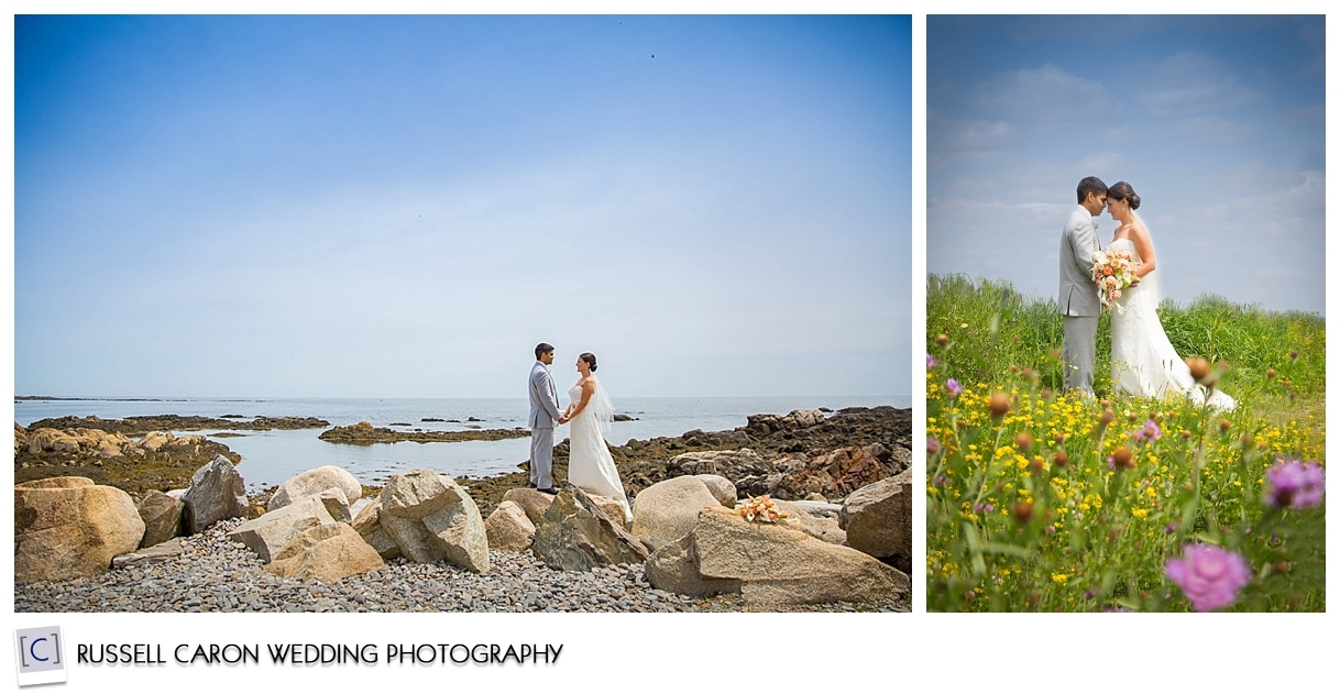 Bride and groom at the shore, bride and groom in field of flowers