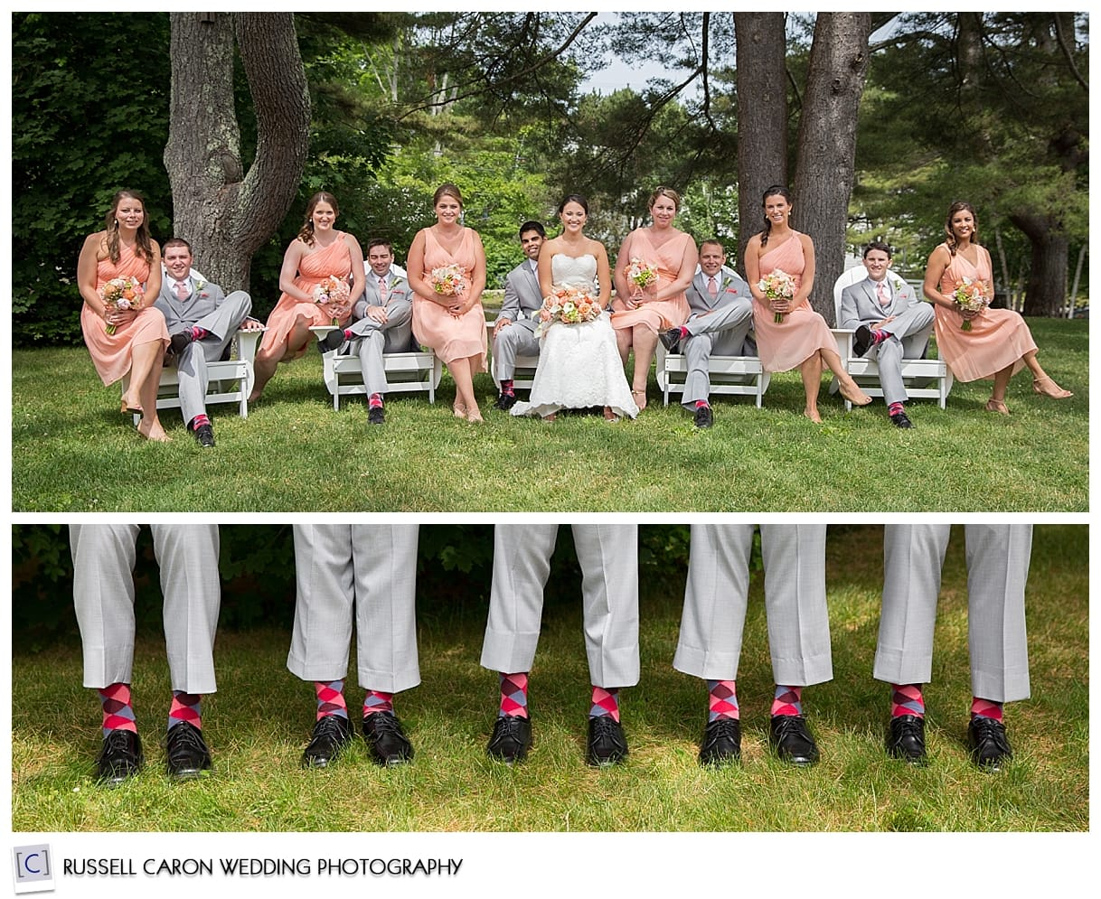 Bridal party photos, groomsmen with fun socks at Colony Hotel wedding