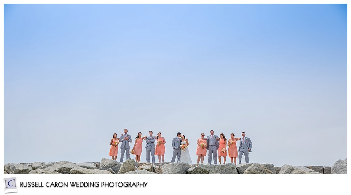 Bridal party on Kennebunkport breakwater