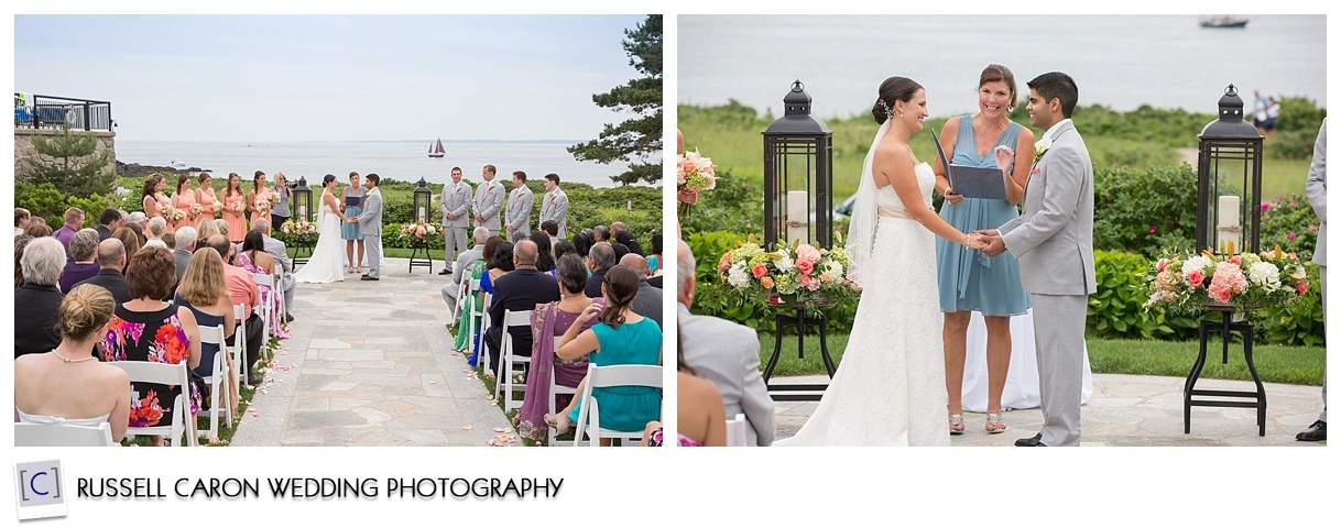 Wedding ceremony on the lawn at the Colony Hotel, Kennebunkport, Maine