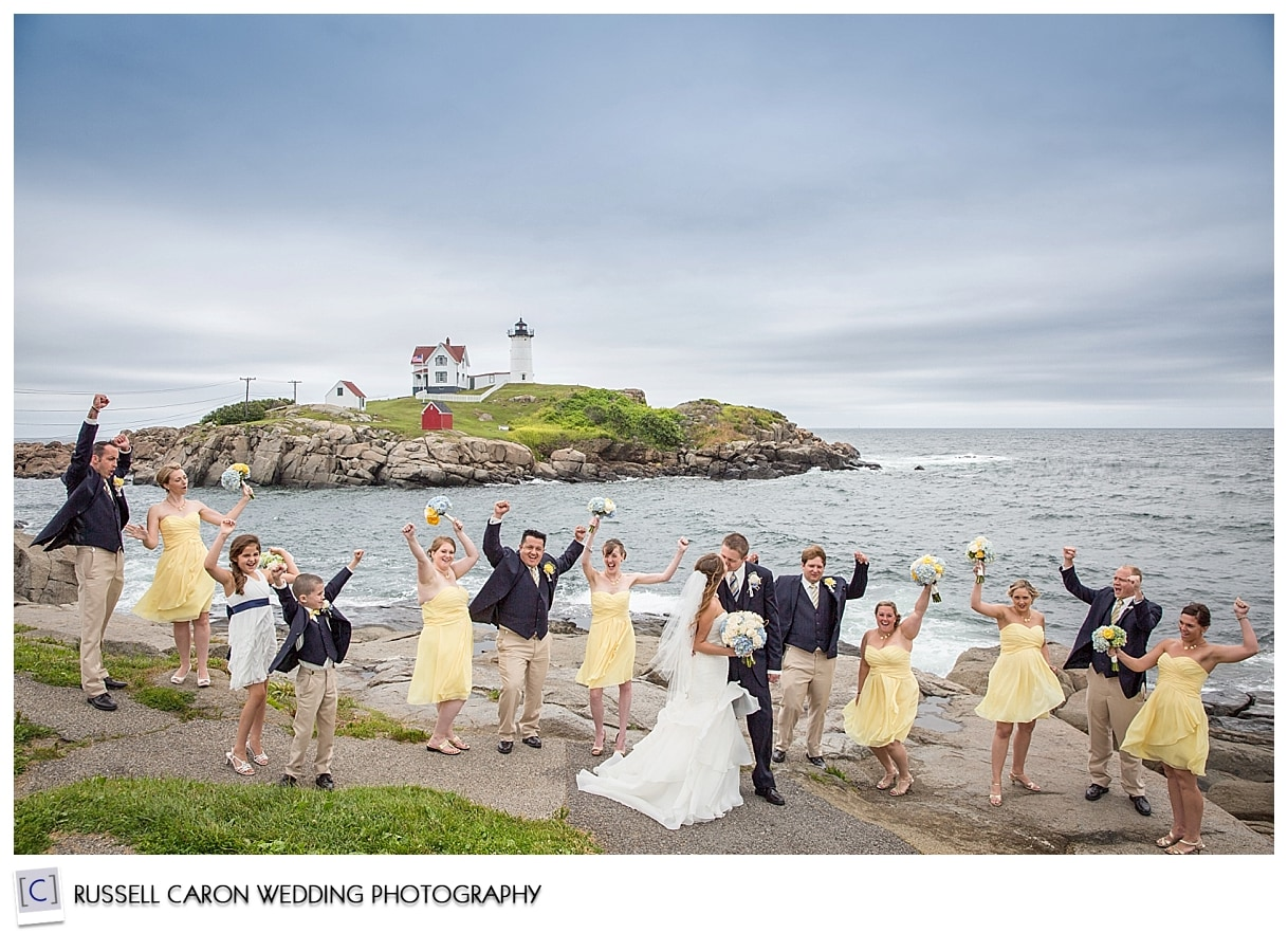 Bridal party at Nubble Light York Maine, by York Maine wedding photographers, Russell Caron Wedding Photography