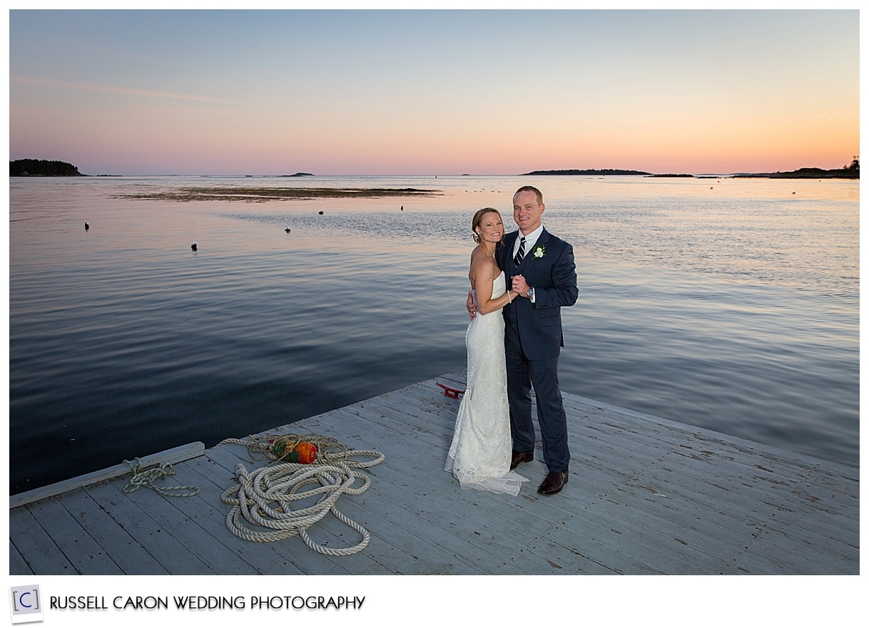Sebasco Harbor wedding, couple on the dock