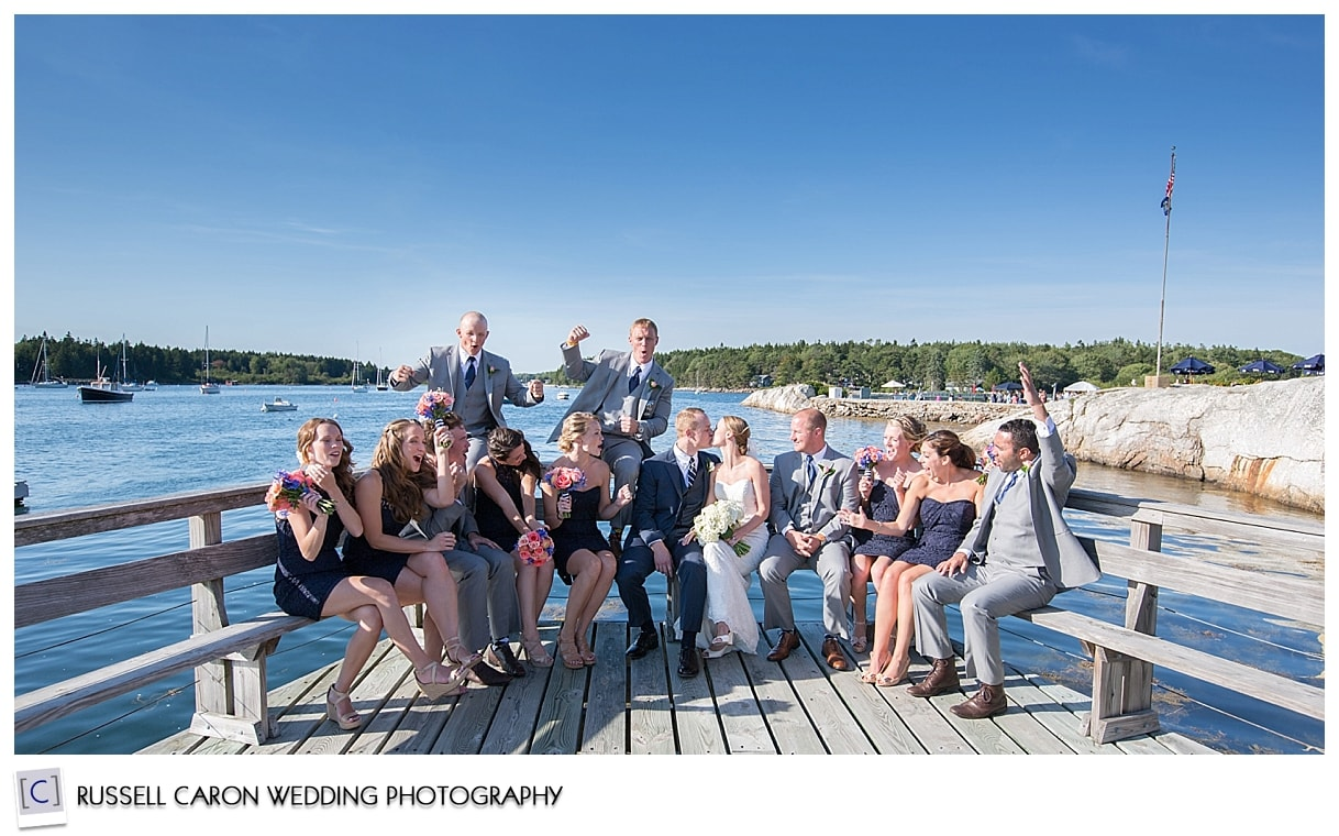 Wedding party at the Sebasco Harbor Resort dock