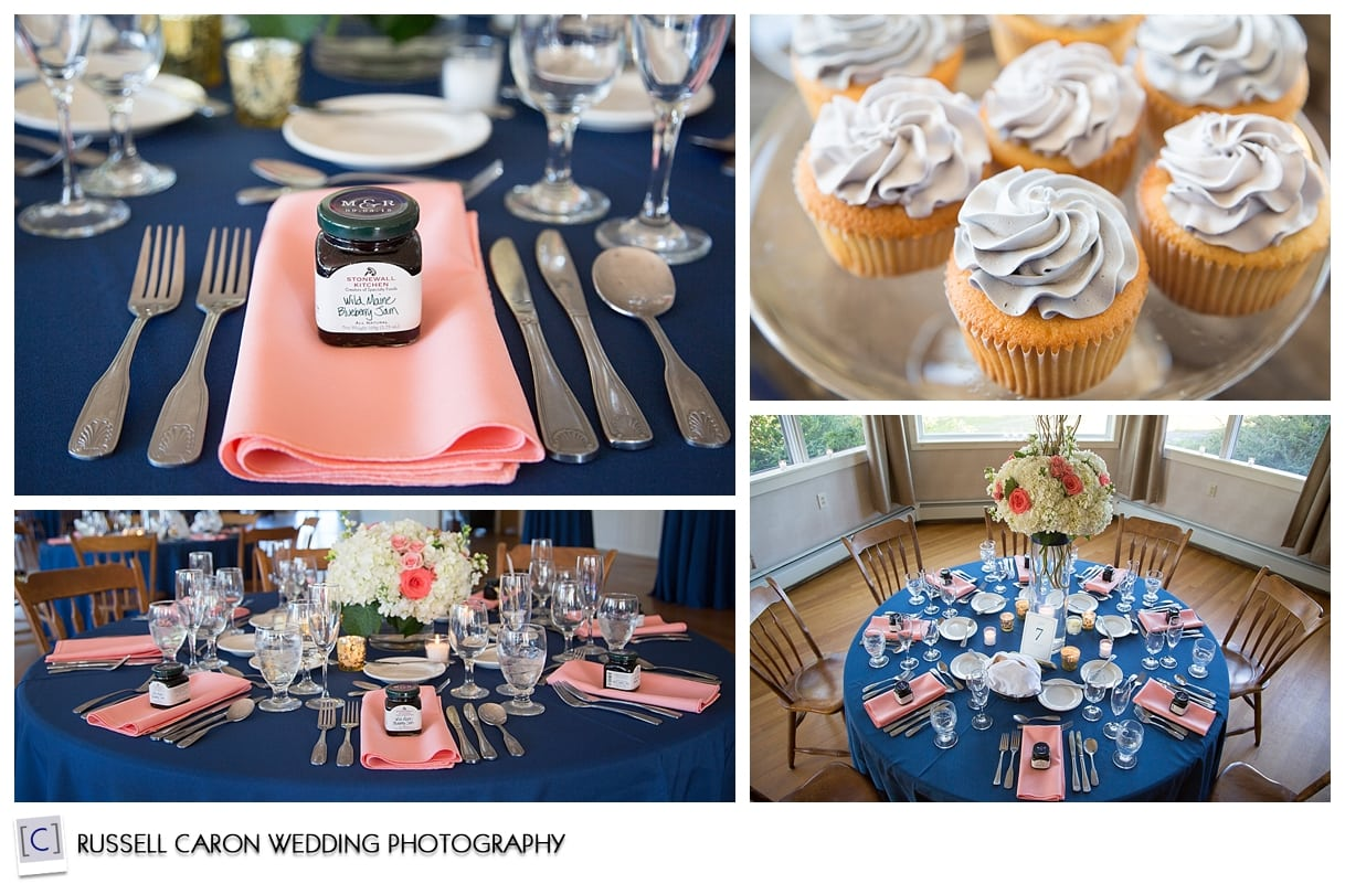 Wedding reception details at Sebasco Harbor Resort