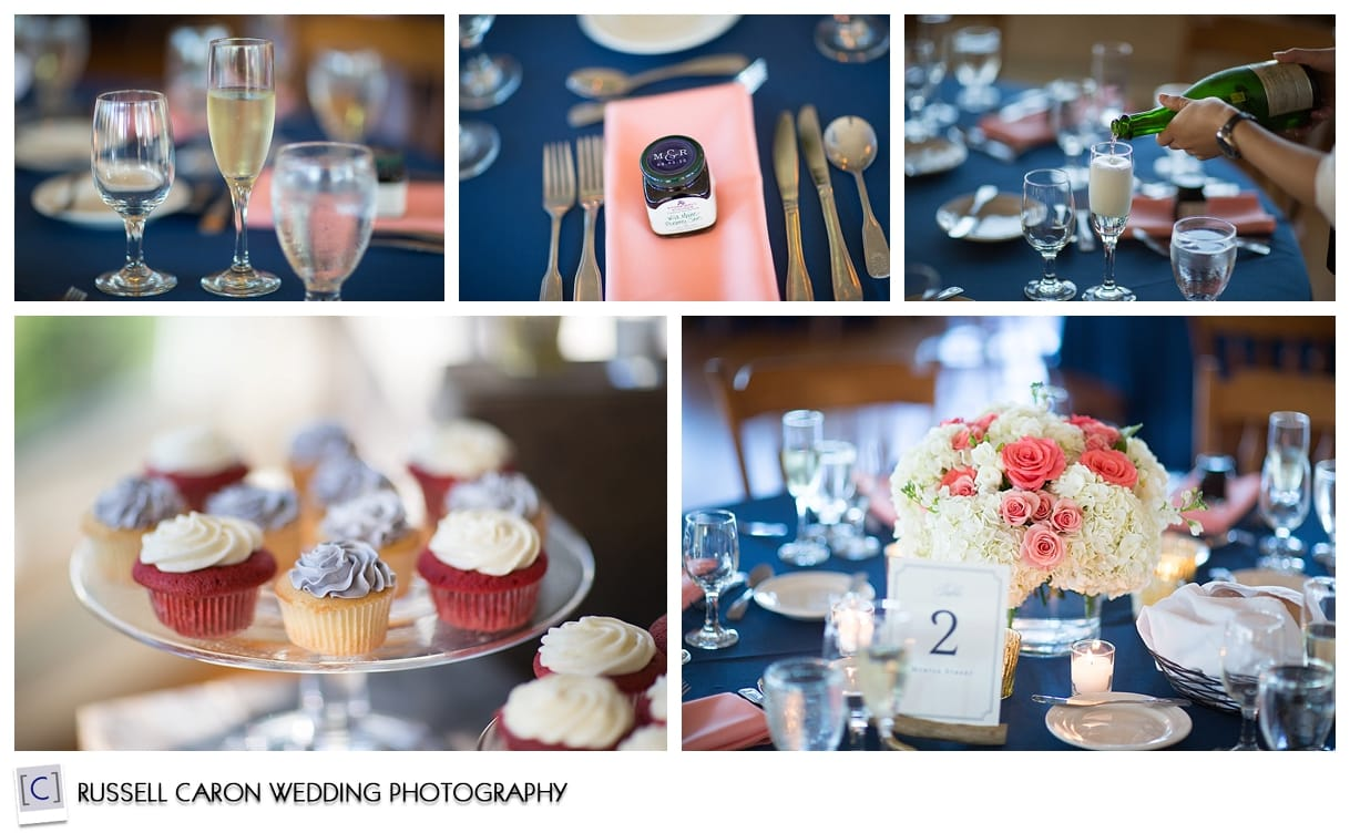 Coral and navy wedding detail photos