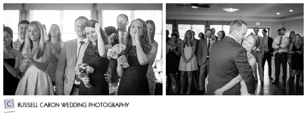 Wedding guests during first dance