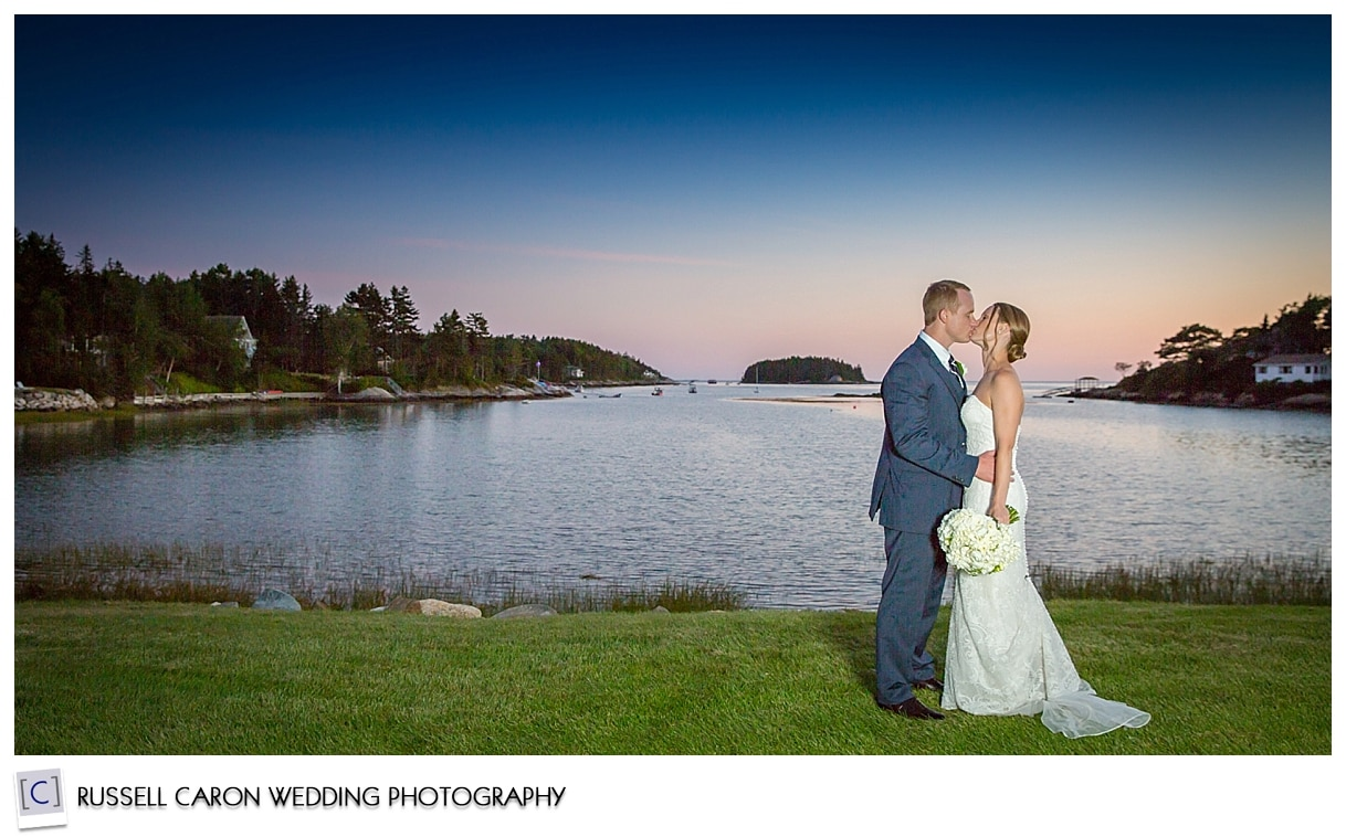 Bride and groom during sunset at Sebasco Harbor Resort