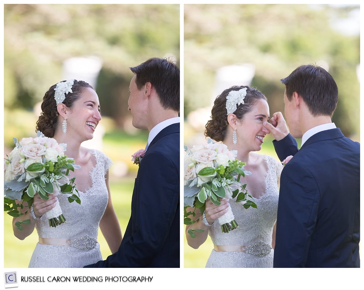 Bride and groom during first look photos