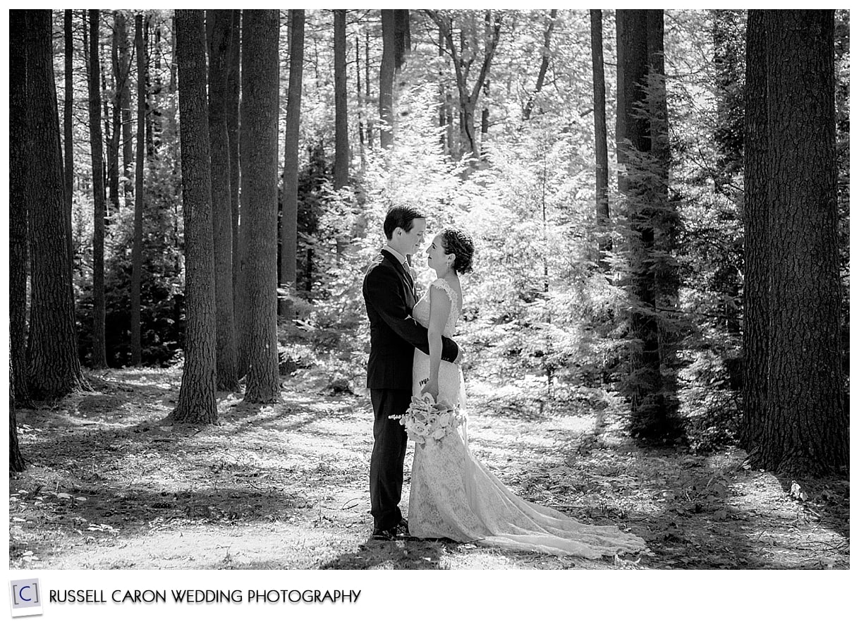 Couple photographed in the woods