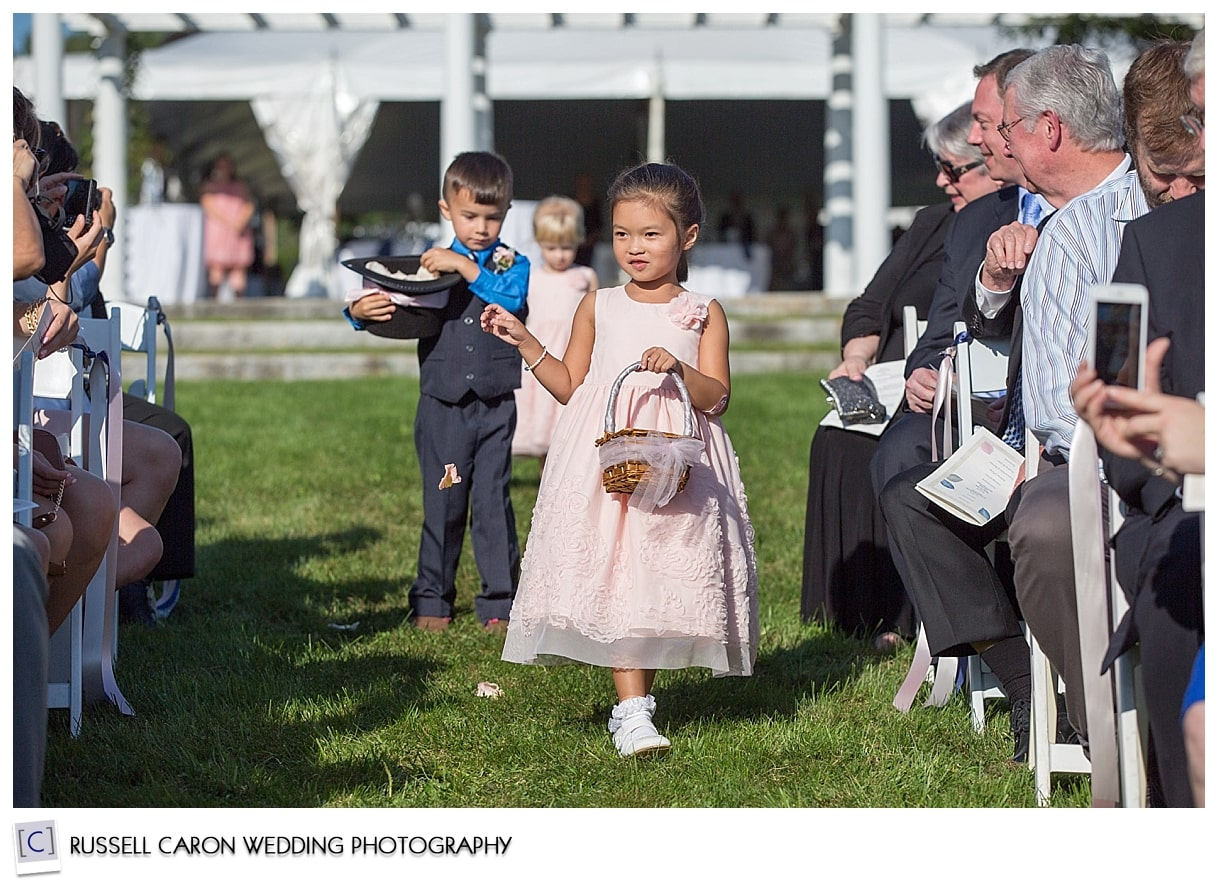 Flower girls and ring bearer during Pineland Farms wedding