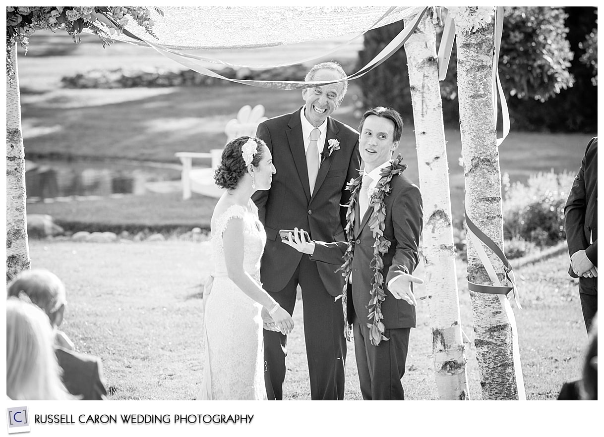 Laughter during wedding vows