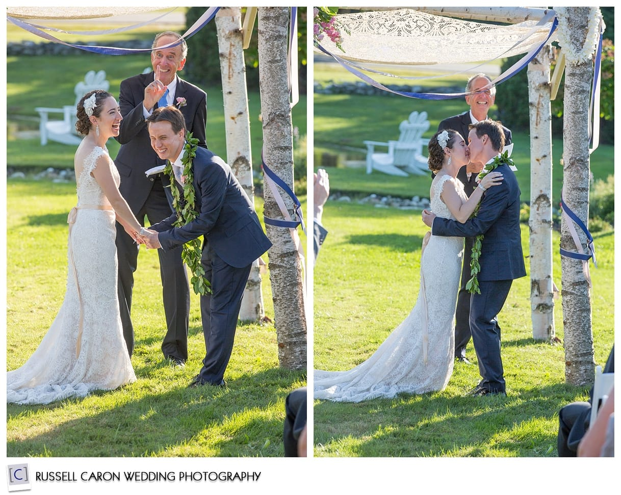 Bride and groom first kiss photos