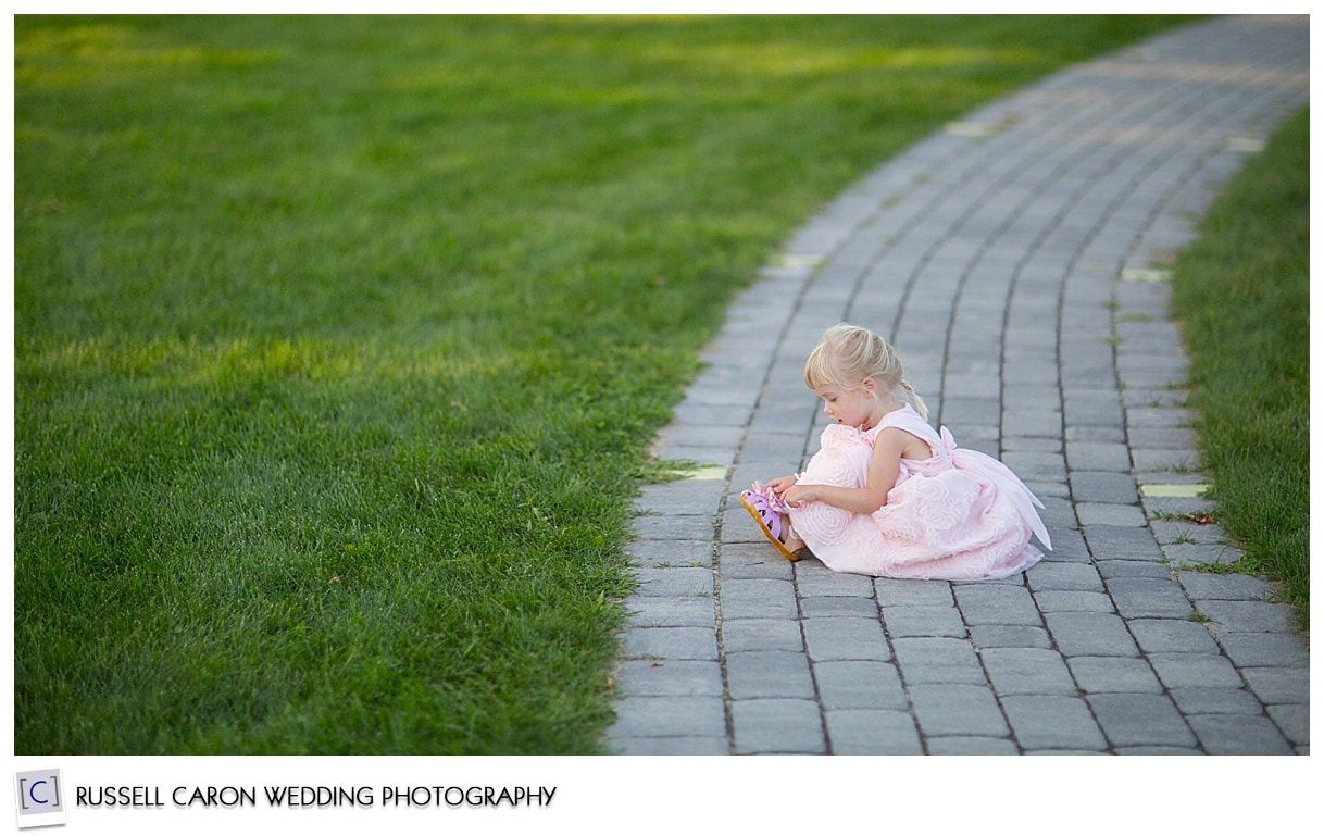 Little girl during wedding reception