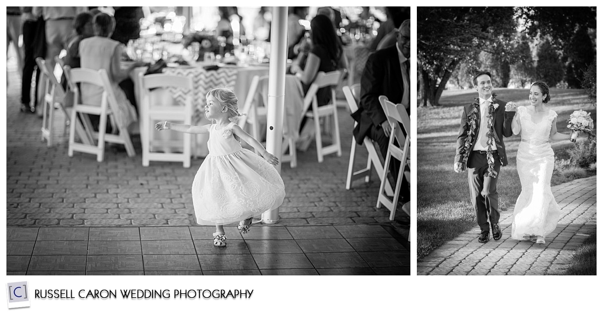 Bride and groom during entrance, little girl dancing