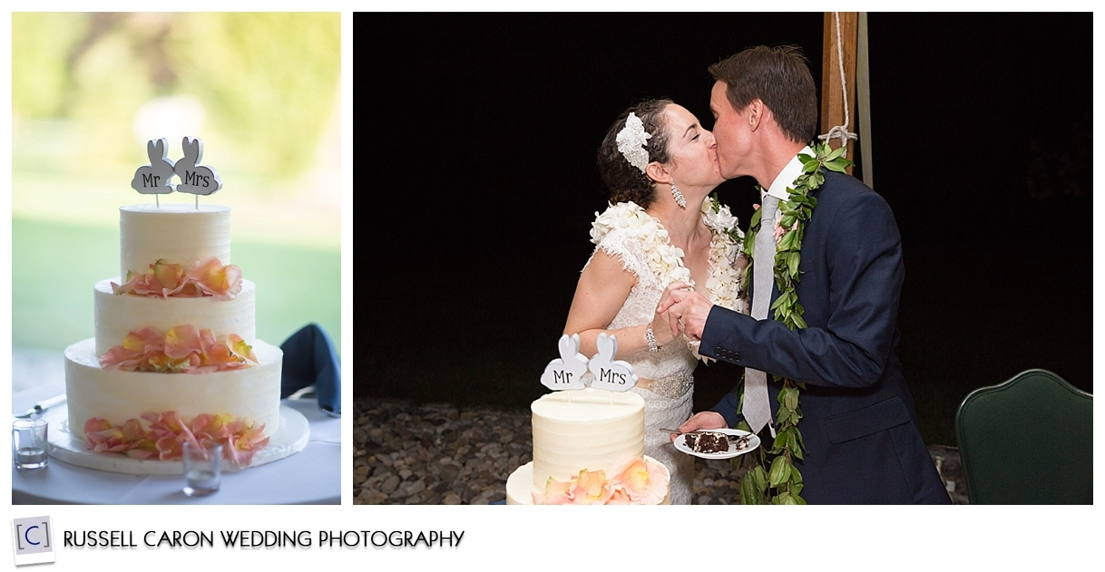 Wedding cake, bride and groom kissing