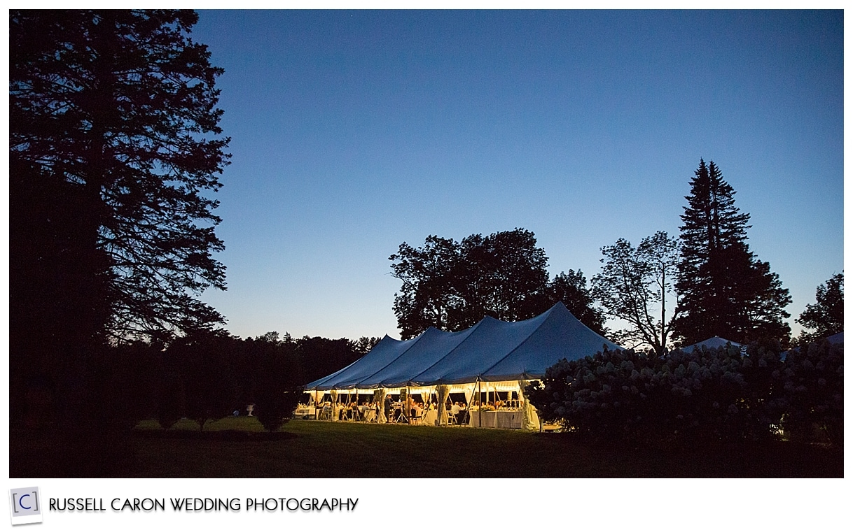 Pineland Farms wedding tent at dusk