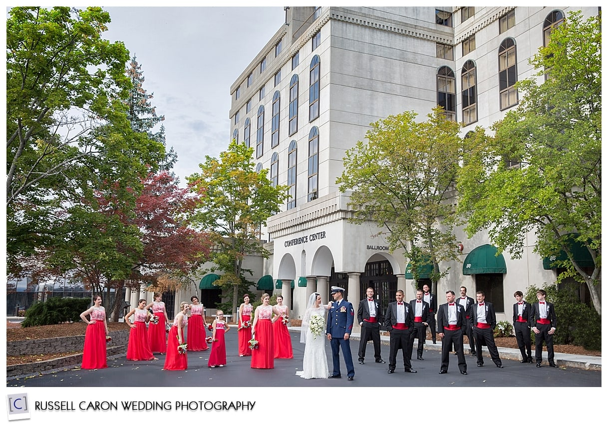 New Hampshire wedding party outside Crowne Plaza Nashua, by Maine wedding photographers, Russell Caron Wedding Photography