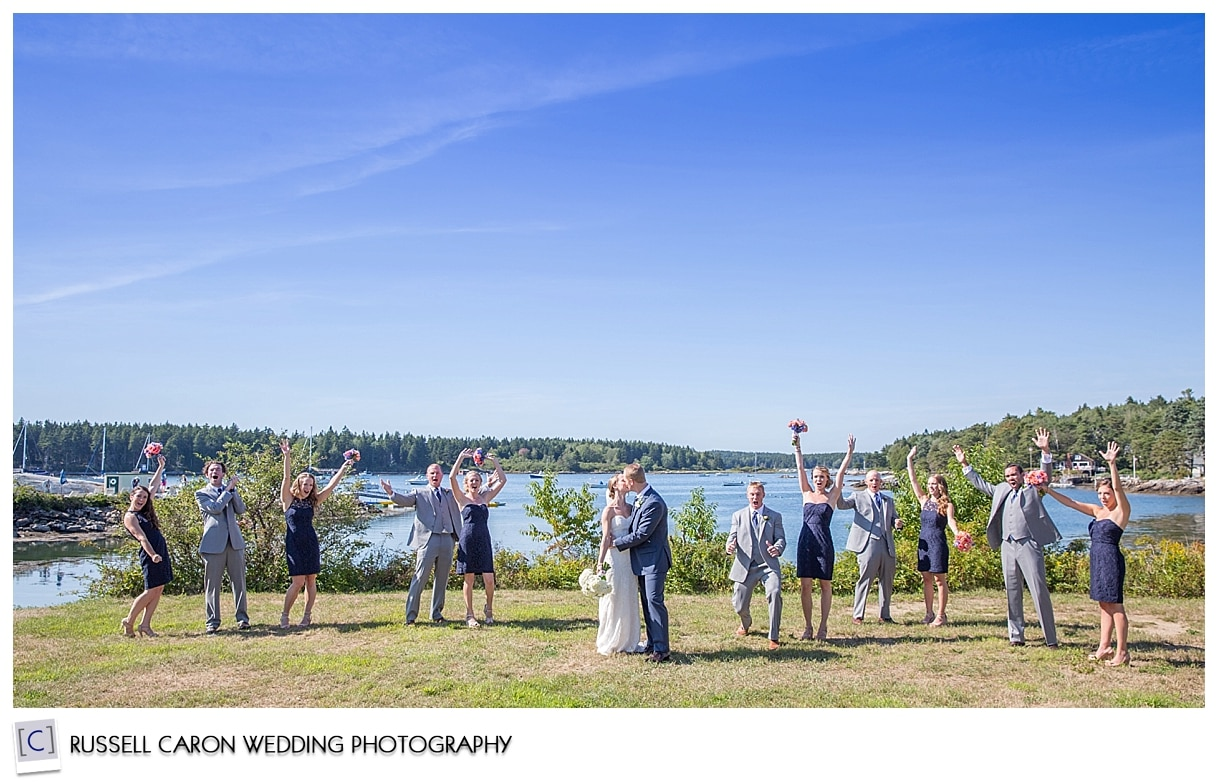 bridal party photo at Sebasco Harbor Resort, Phippsburg, Maine