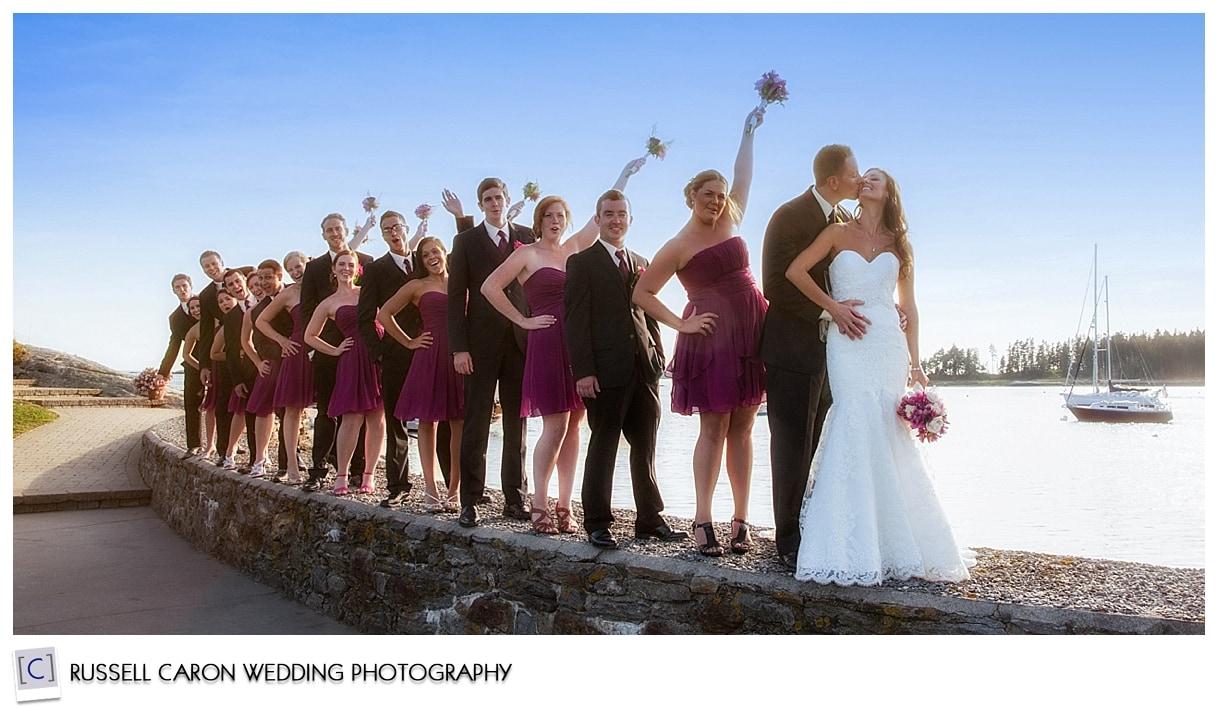 bridal party fun on the wall at Sebasco Harbor