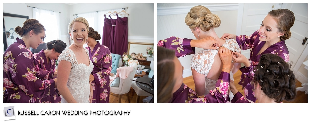 Bride getting dressed in the bridal suite at the Nonantum Resort, Kennebunkport