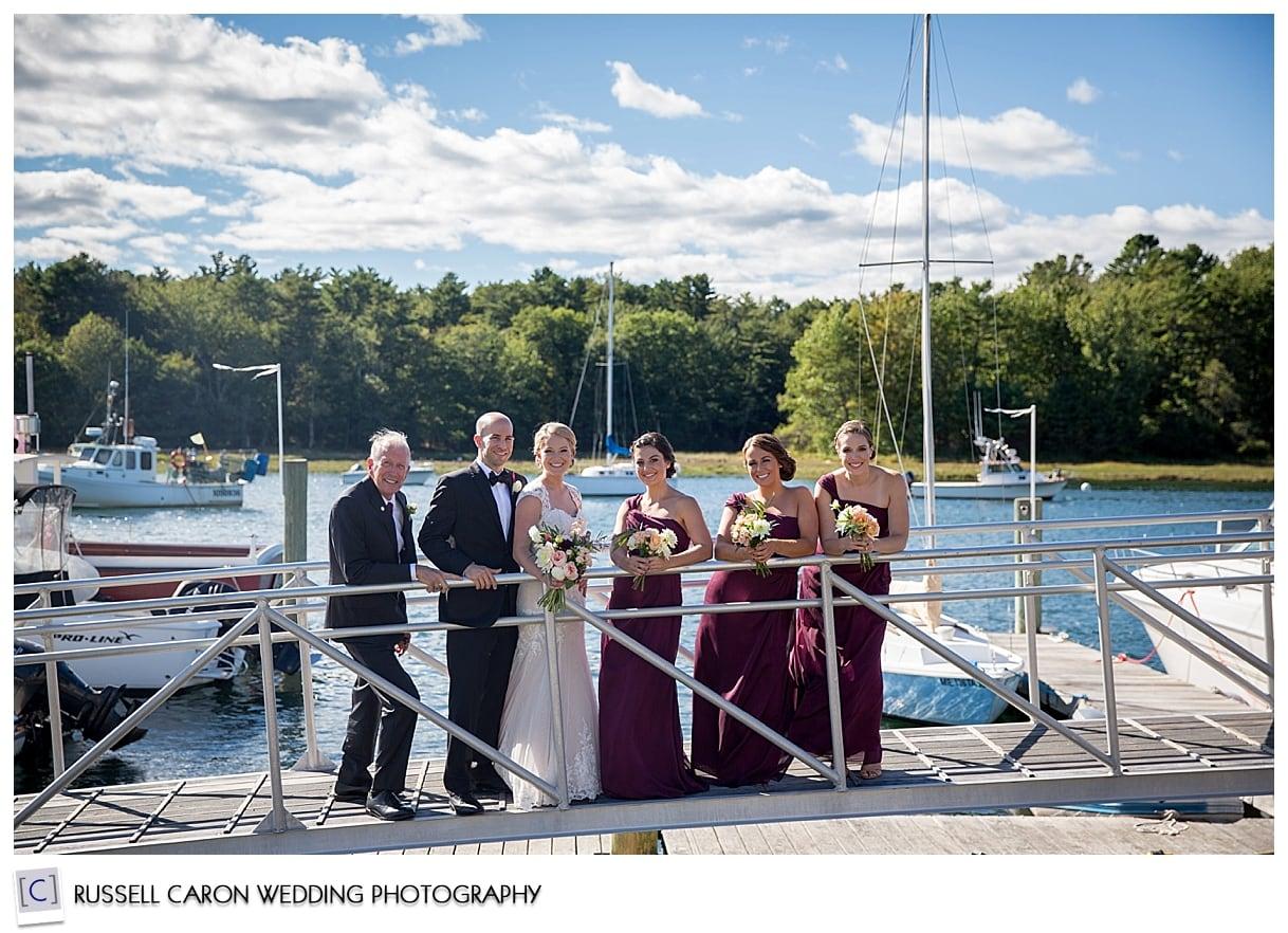 bridal-party-on-nonantum-resort-dock-kennebunkport-maine