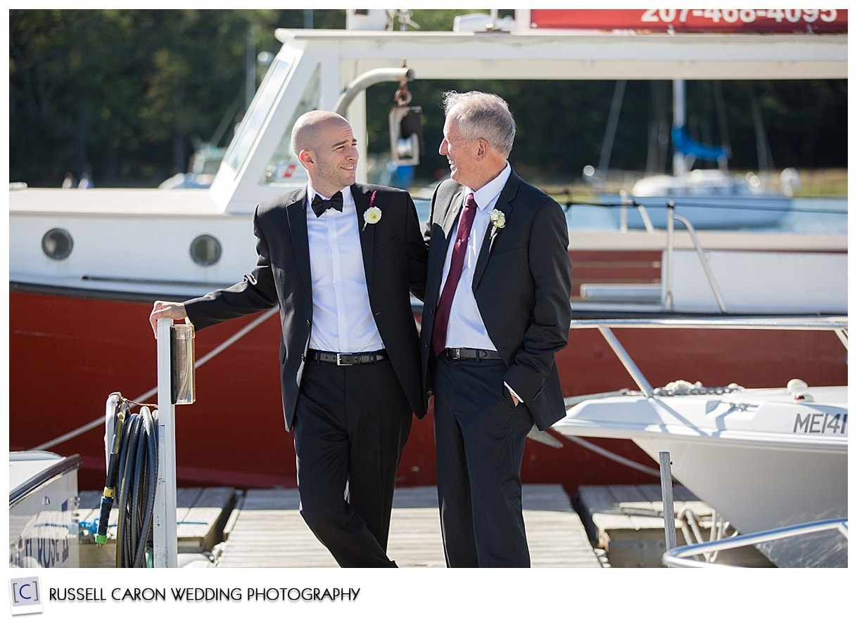 groom-and-best-man-on-nonantum-dock