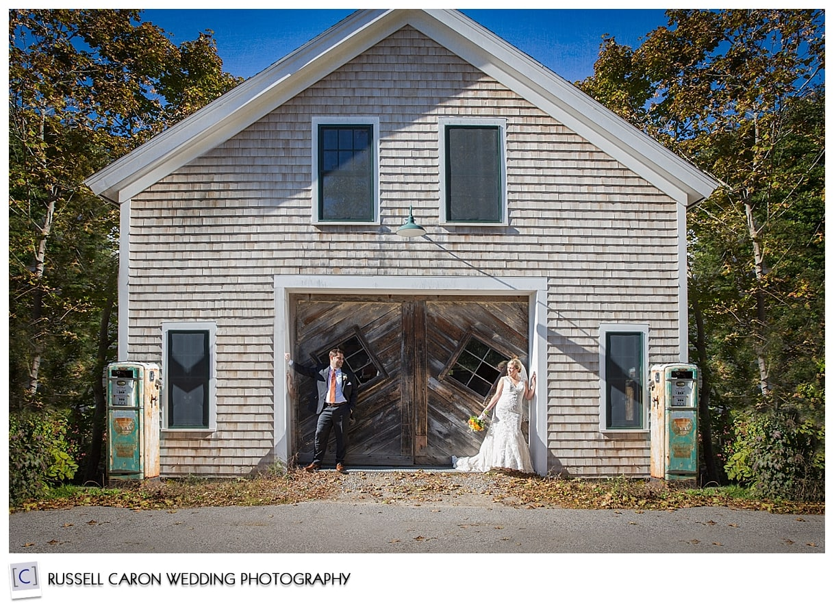 bride-and-groom-in-front-of-garage-kennebunkport-maine