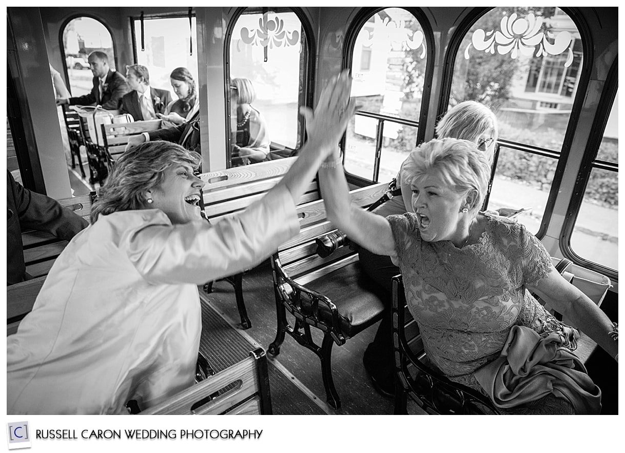 wedding-guests-on-trolley-kennebunkport-maine